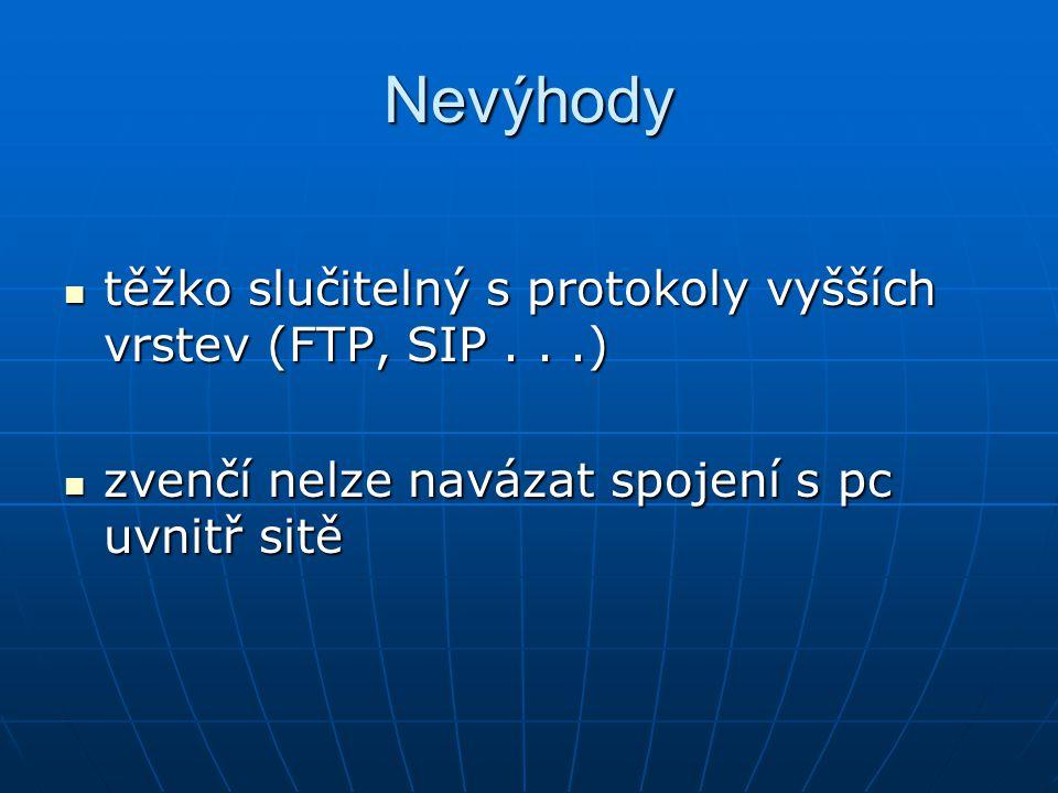 Nevýhody těžko slučitelný s protokoly vyšších vrstev (FTP, SIP . . .)