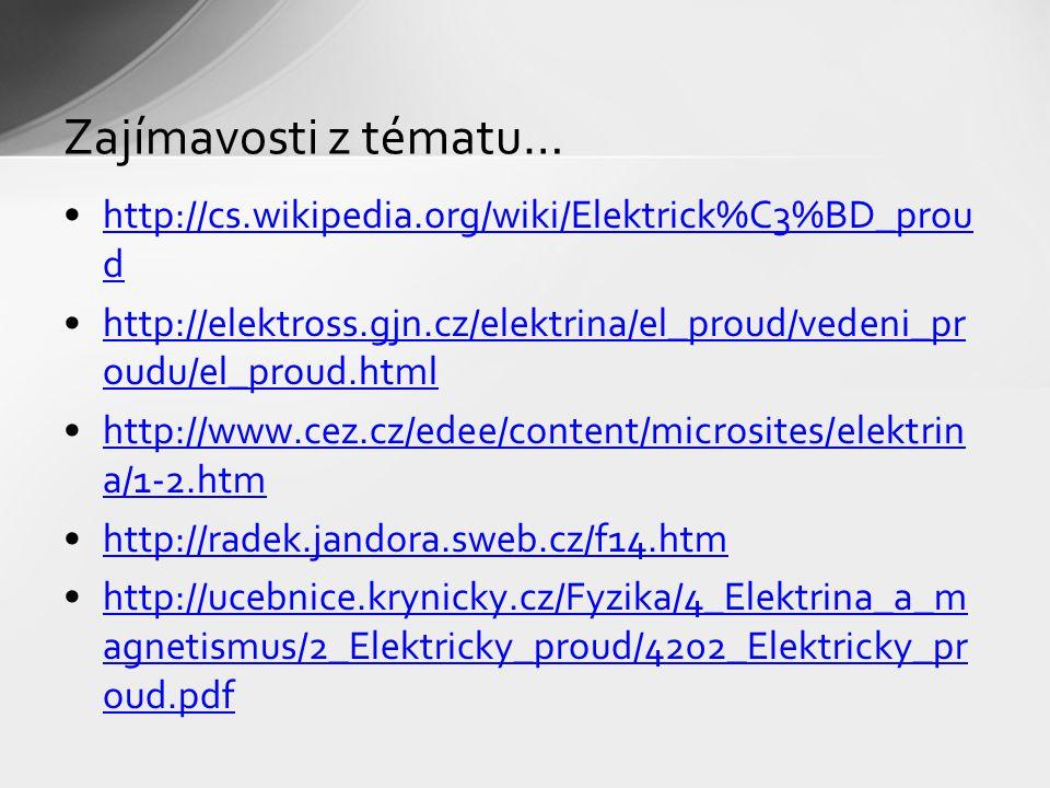 Zajímavosti z tématu… http://cs.wikipedia.org/wiki/Elektrick%C3%BD_proud. http://elektross.gjn.cz/elektrina/el_proud/vedeni_proudu/el_proud.html.