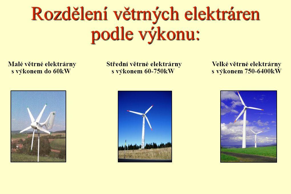 Rozdělení větrných elektráren podle výkonu: