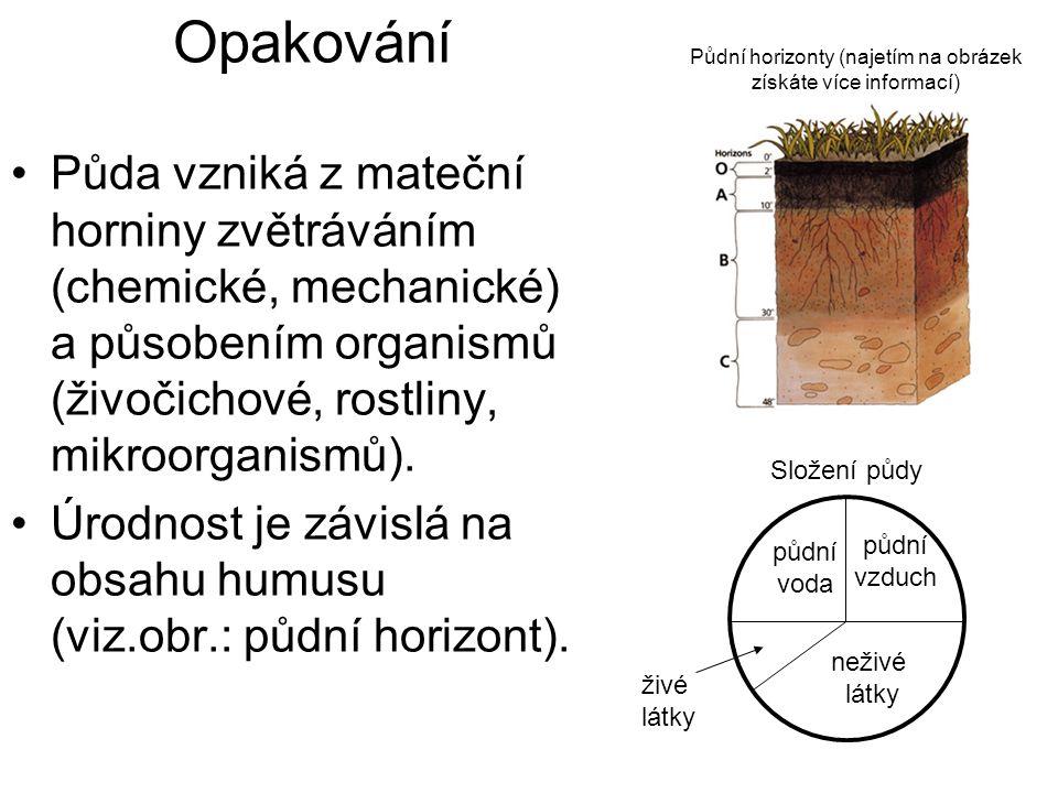 Opakování Půdní horizonty (najetím na obrázek. získáte více informací)