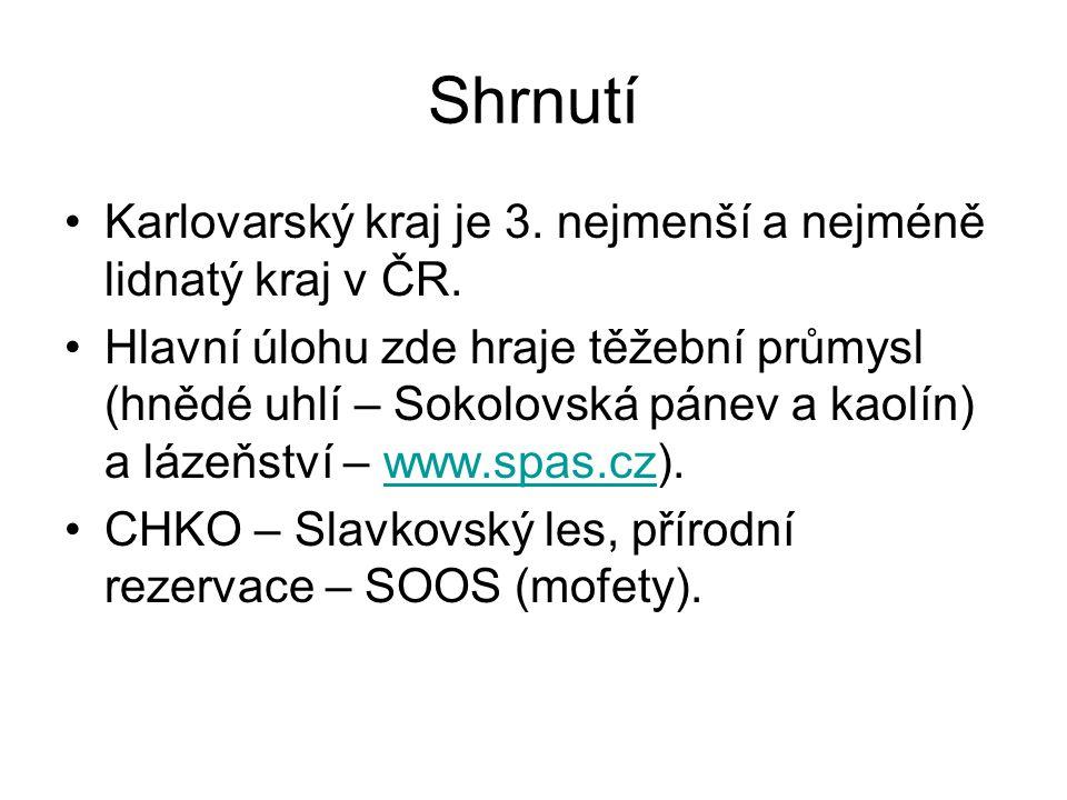 Shrnutí Karlovarský kraj je 3. nejmenší a nejméně lidnatý kraj v ČR.