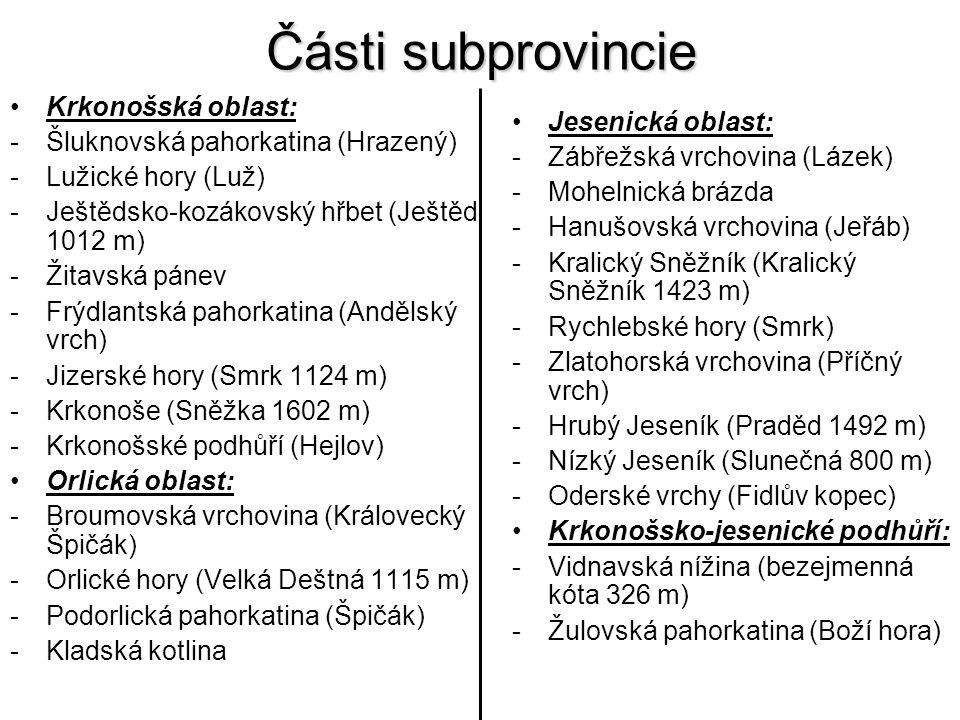 Části subprovincie Krkonošská oblast: Šluknovská pahorkatina (Hrazený)