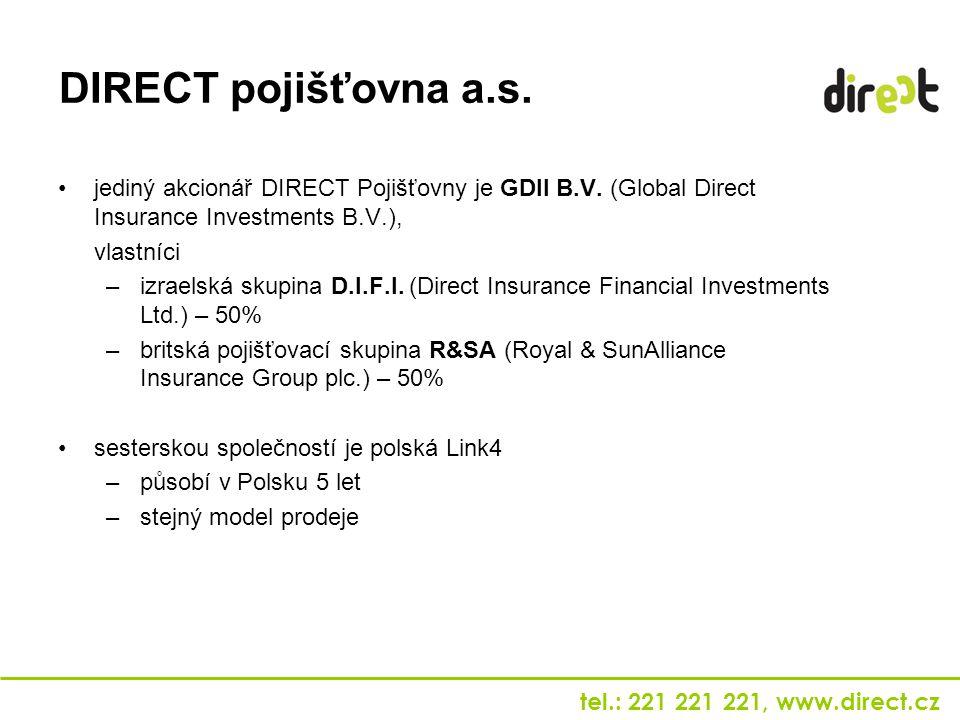 DIRECT pojišťovna a.s. jediný akcionář DIRECT Pojišťovny je GDII B.V. (Global Direct Insurance Investments B.V.),