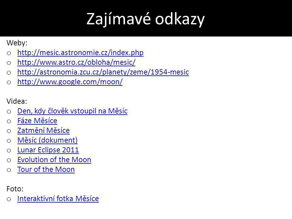 Zajímavé odkazy Weby: http://mesic.astronomie.cz/index.php