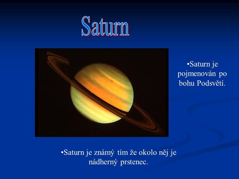 Saturn Saturn je pojmenován po bohu Podsvětí.