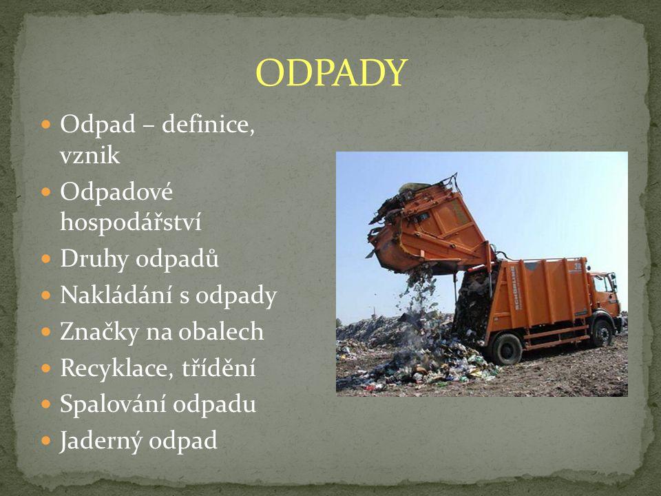 ODPADY Odpad – definice, vznik Odpadové hospodářství Druhy odpadů
