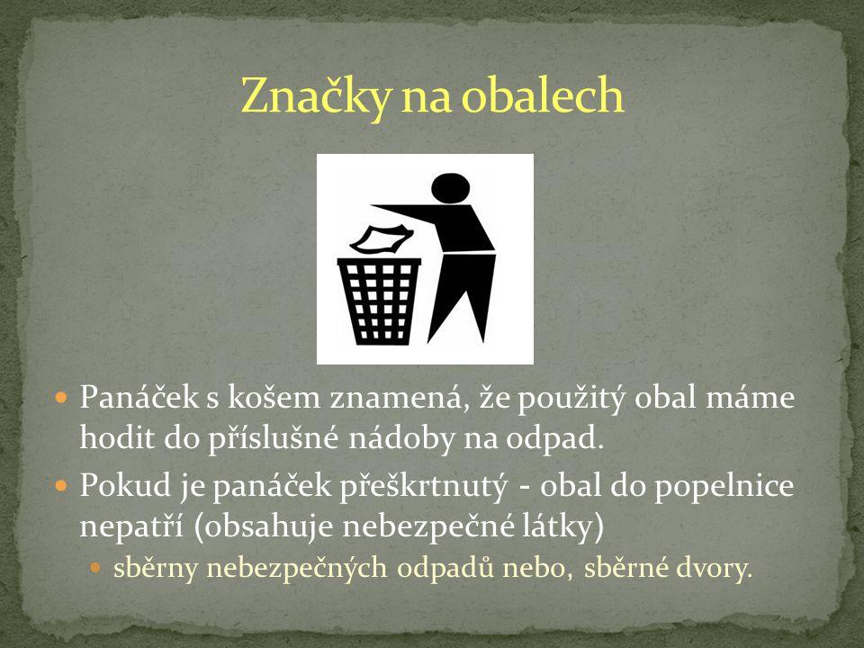 Značky na obalech Panáček s košem znamená, že použitý obal máme hodit do příslušné nádoby na odpad.