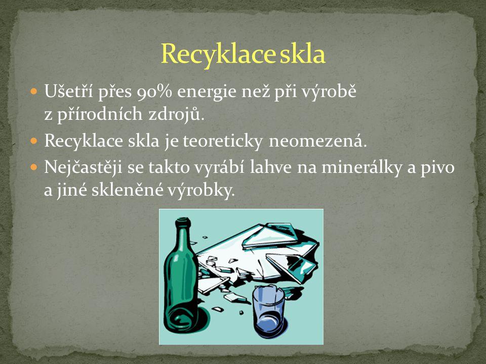 Recyklace skla Ušetří přes 90% energie než při výrobě z přírodních zdrojů. Recyklace skla je teoreticky neomezená.