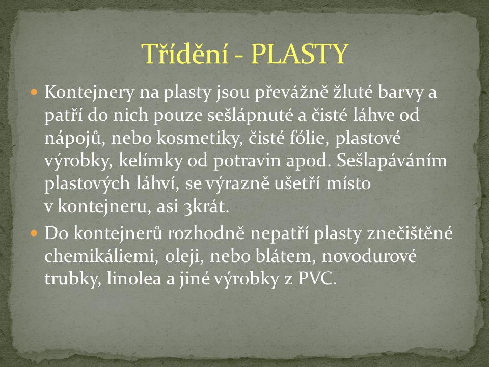 Třídění - PLASTY