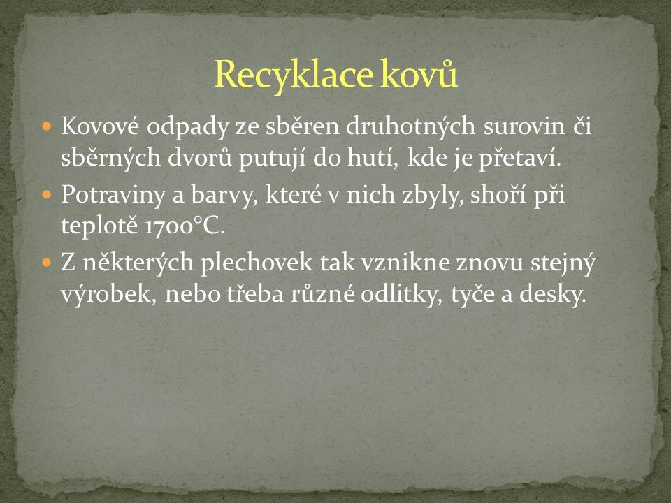Recyklace kovů Kovové odpady ze sběren druhotných surovin či sběrných dvorů putují do hutí, kde je přetaví.