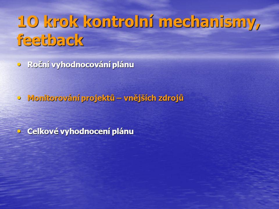 1O krok kontrolní mechanismy, feetback