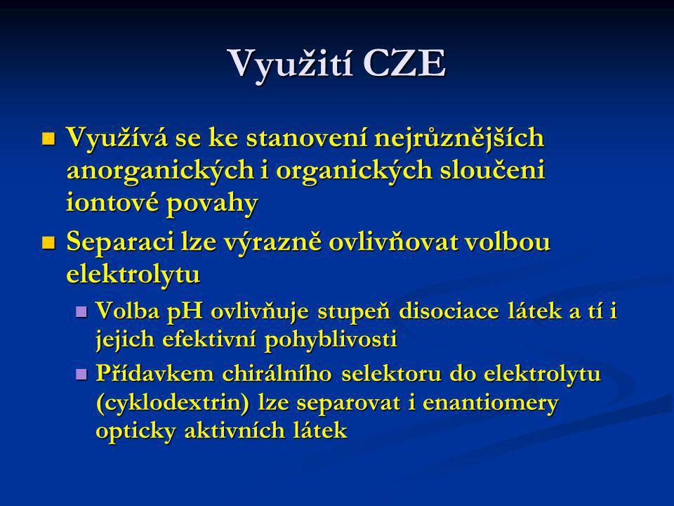 Využití CZE Využívá se ke stanovení nejrůznějších anorganických i organických sloučeni iontové povahy.