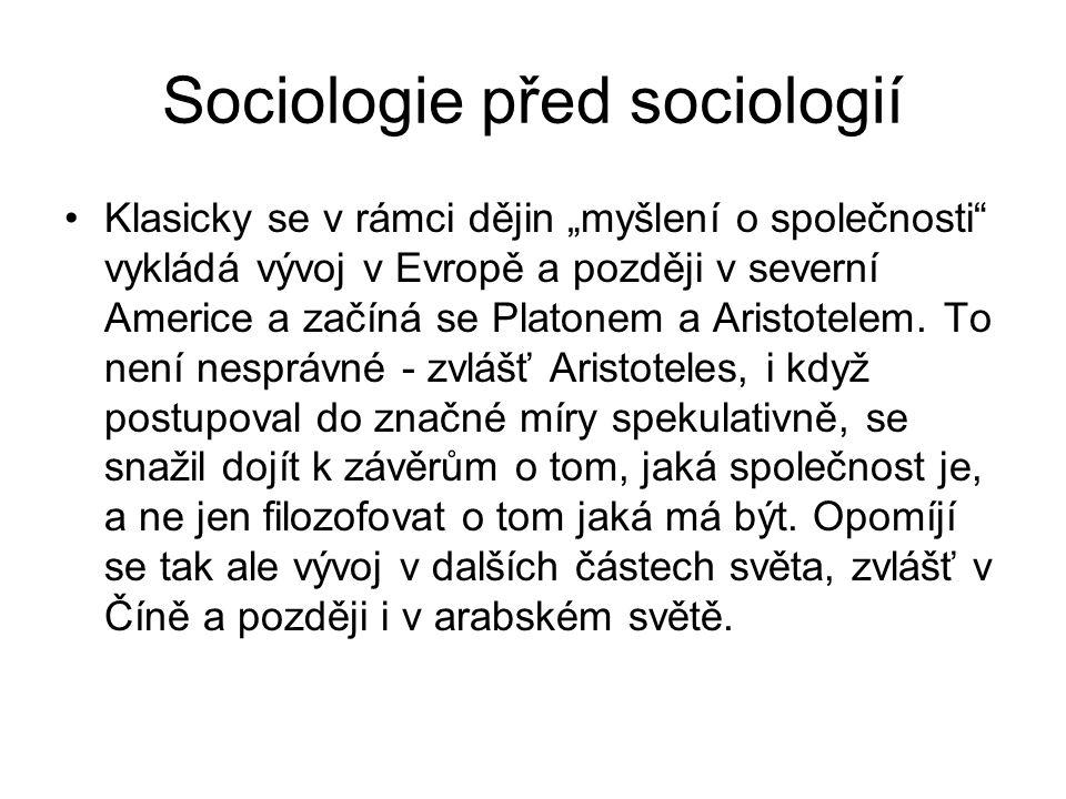Sociologie před sociologií