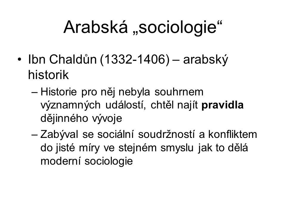 "Arabská ""sociologie Ibn Chaldůn (1332-1406) – arabský historik"