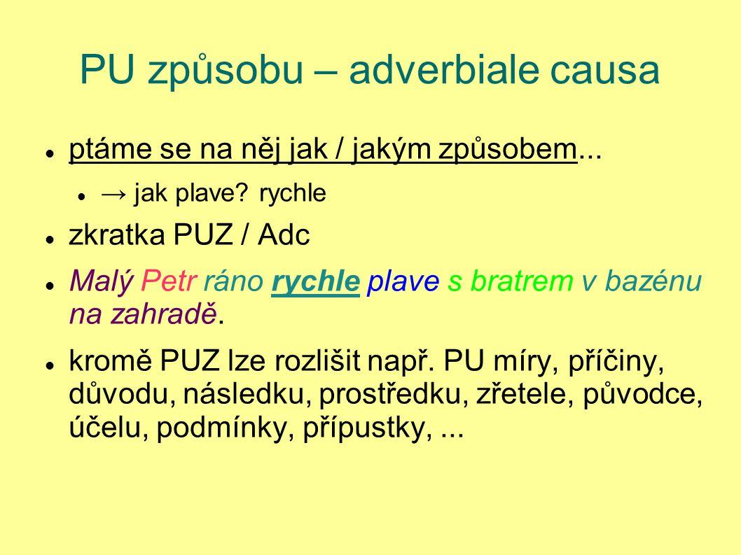 PU způsobu – adverbiale causa