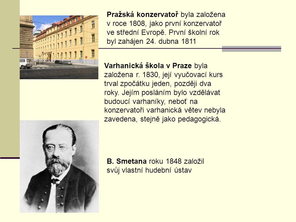 Pražská konzervatoř byla založena v roce 1808, jako první konzervatoř ve střední Evropě. První školní rok byl zahájen 24. dubna 1811
