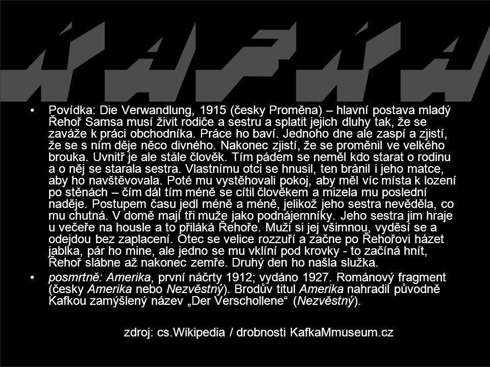 zdroj: cs.Wikipedia / drobnosti KafkaMmuseum.cz