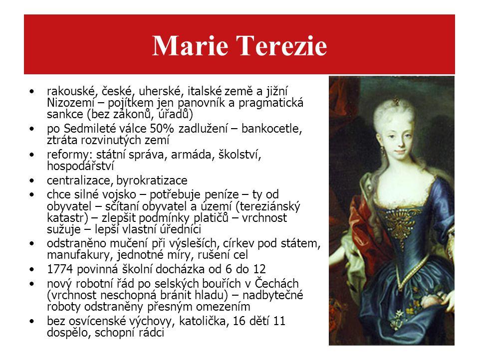 Marie Terezie rakouské, české, uherské, italské země a jižní Nizozemí – pojítkem jen panovník a pragmatická sankce (bez zákonů, úřadů)