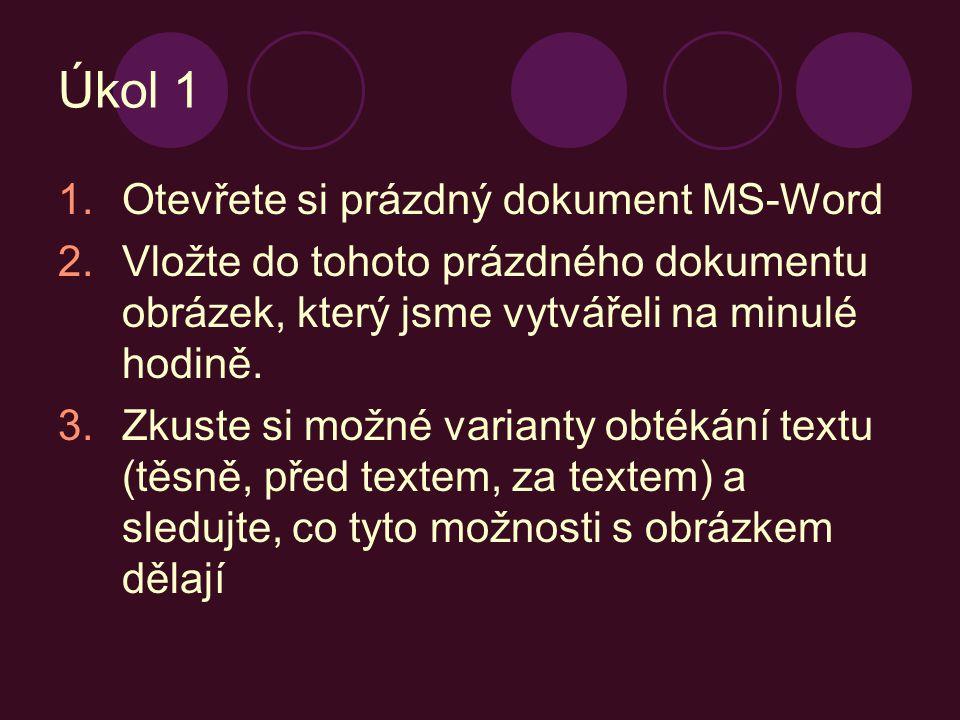 Úkol 1 Otevřete si prázdný dokument MS-Word