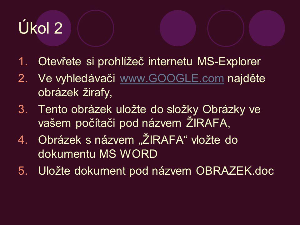 Úkol 2 Otevřete si prohlížeč internetu MS-Explorer