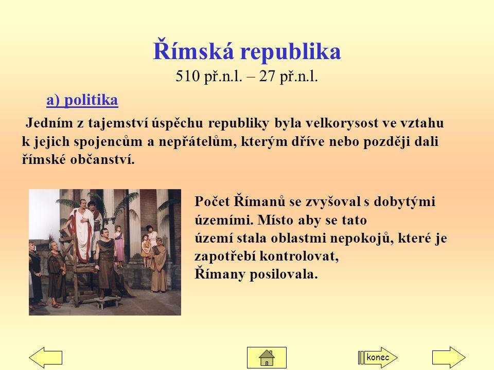 Římská republika 510 př.n.l. – 27 př.n.l. a) politika