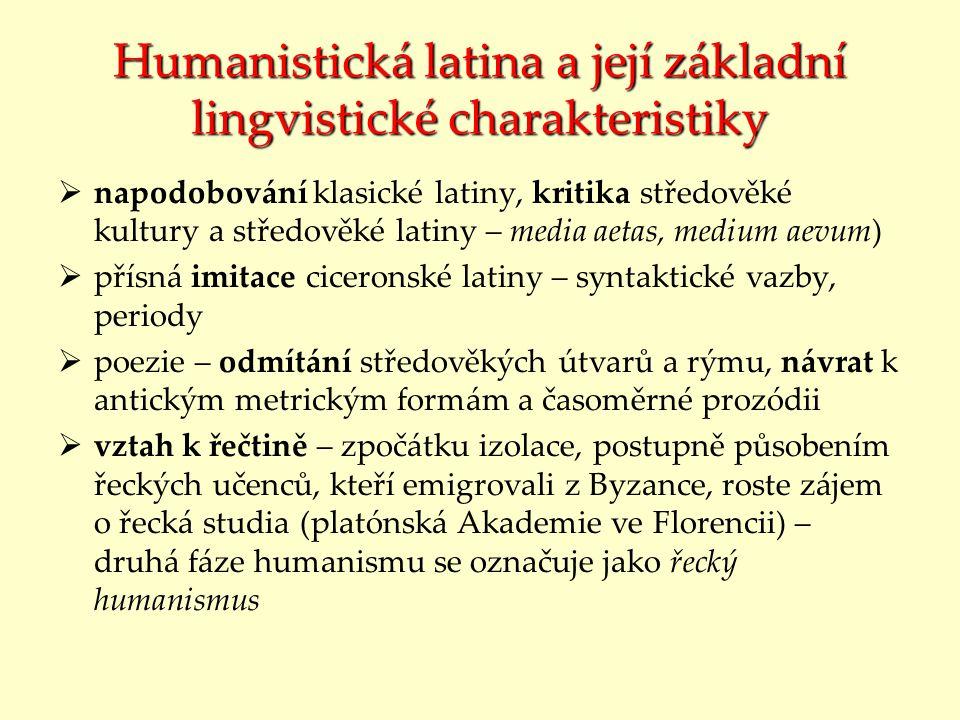Humanistická latina a její základní lingvistické charakteristiky