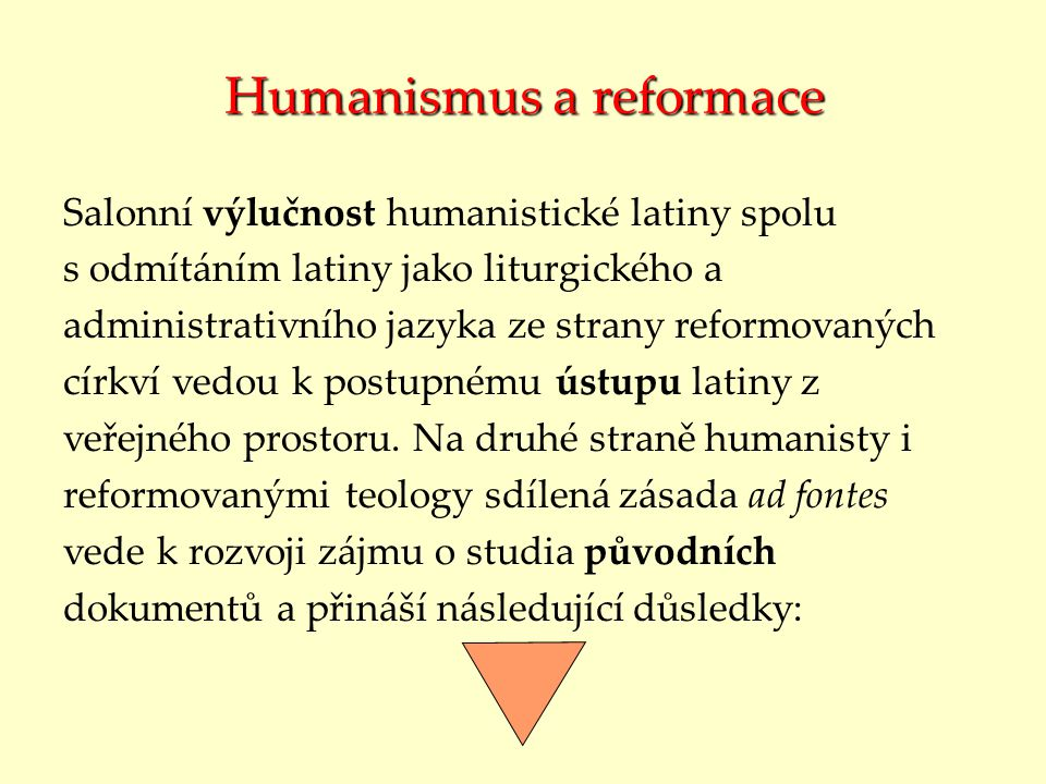 Humanismus a reformace
