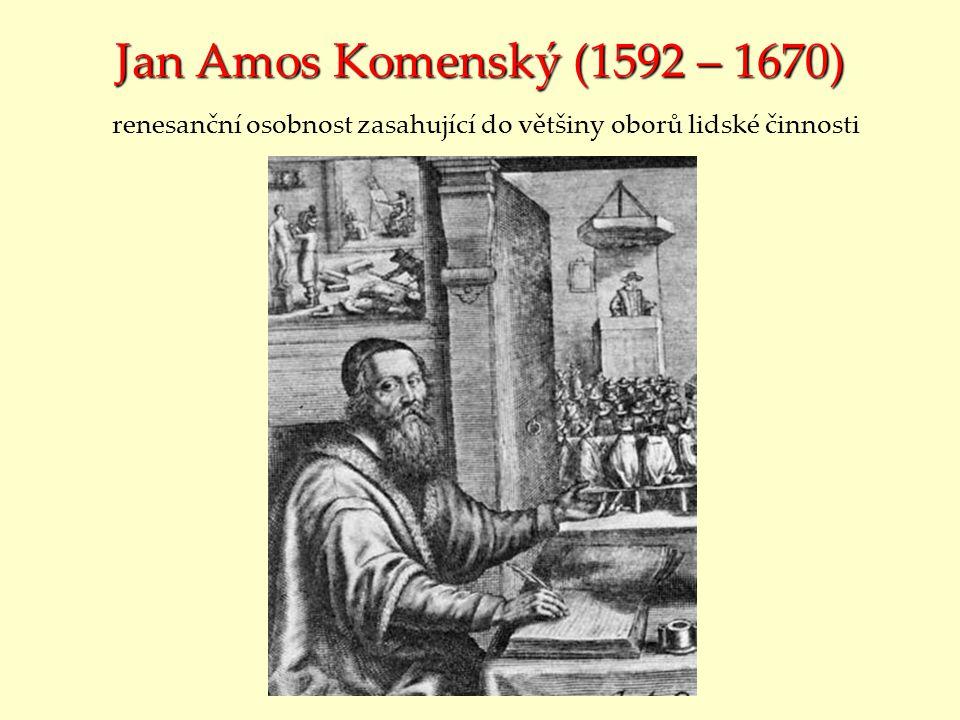 Jan Amos Komenský (1592 – 1670) renesanční osobnost zasahující do většiny oborů lidské činnosti
