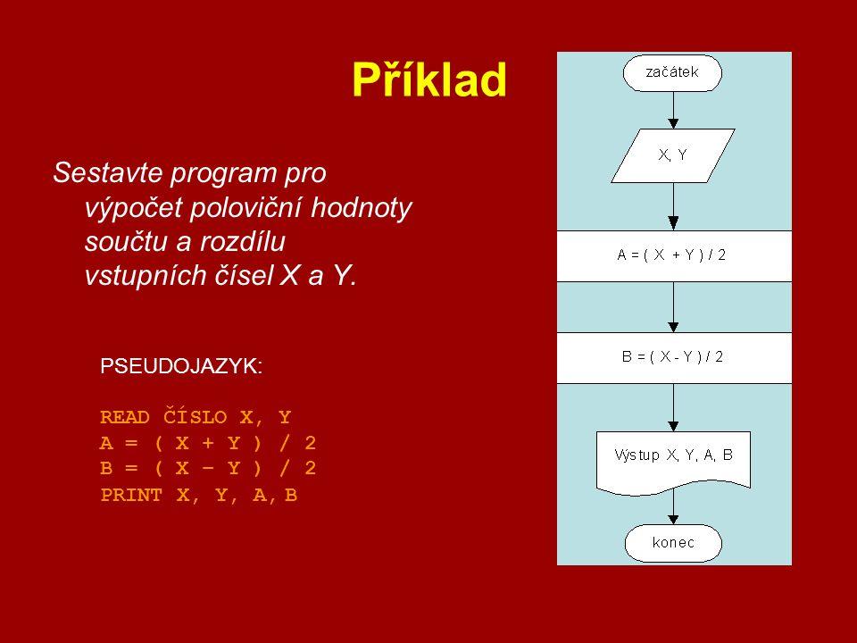 Příklad Sestavte program pro výpočet poloviční hodnoty součtu a rozdílu vstupních čísel X a Y. PSEUDOJAZYK: