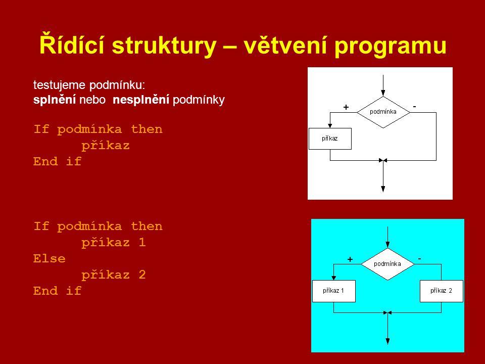 Řídící struktury – větvení programu