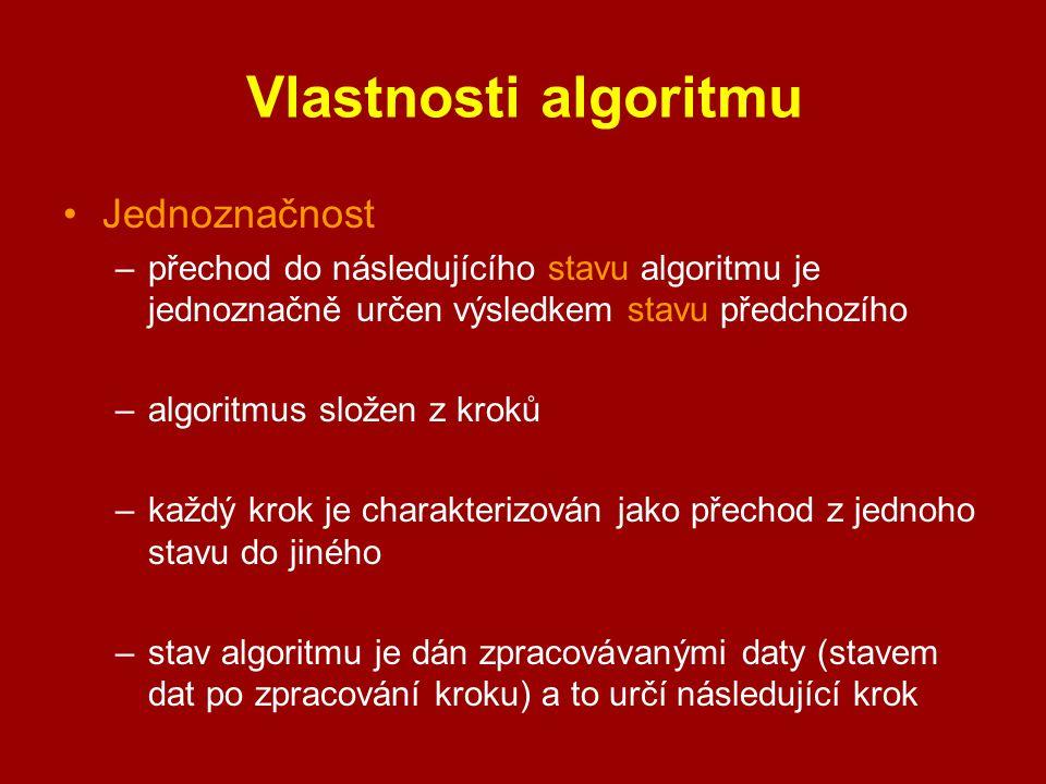 Vlastnosti algoritmu Jednoznačnost