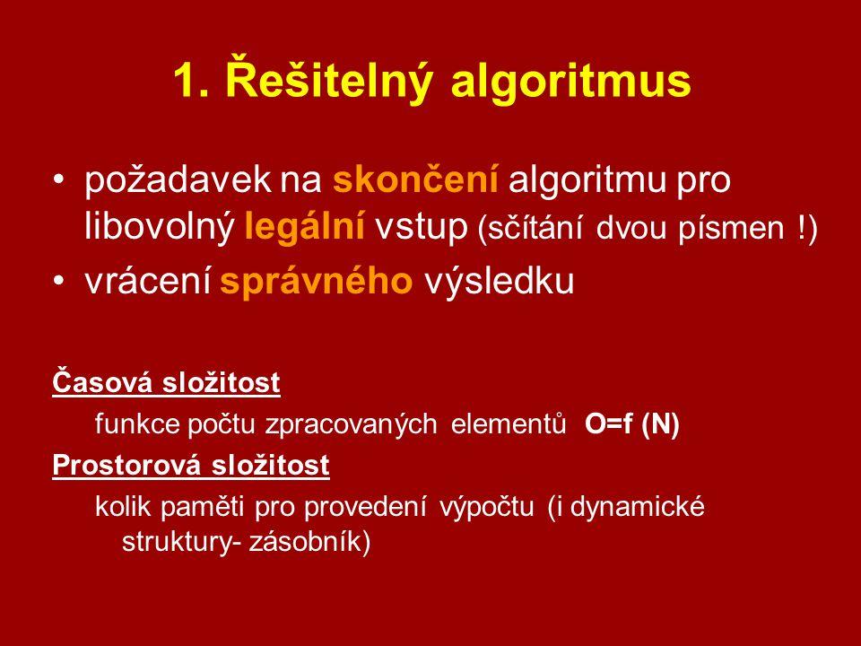 1. Řešitelný algoritmus požadavek na skončení algoritmu pro libovolný legální vstup (sčítání dvou písmen !)