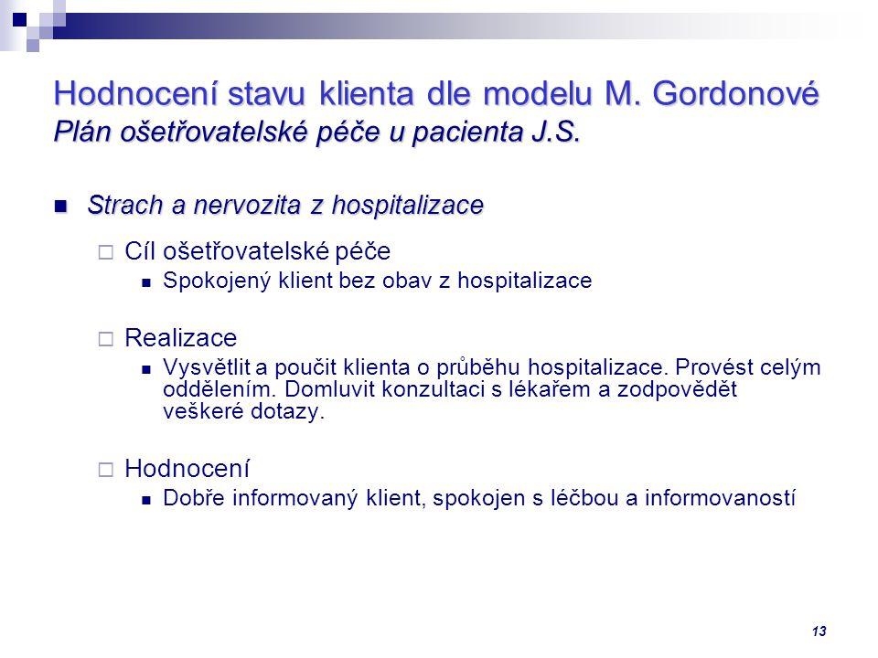 Hodnocení stavu klienta dle modelu M