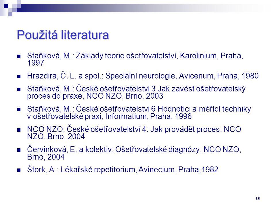 Použitá literatura Staňková, M.: Základy teorie ošetřovatelství, Karolinium, Praha, 1997.