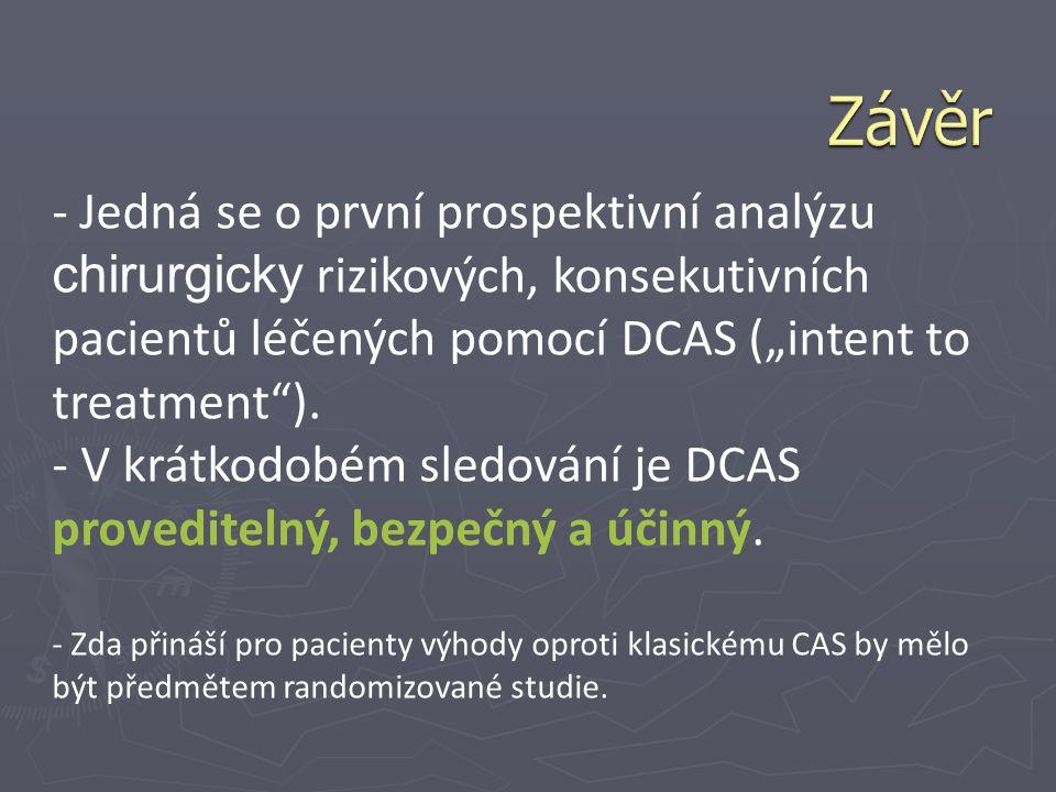 """Závěr - Jedná se o první prospektivní analýzu chirurgicky rizikových, konsekutivních pacientů léčených pomocí DCAS (""""intent to treatment )."""