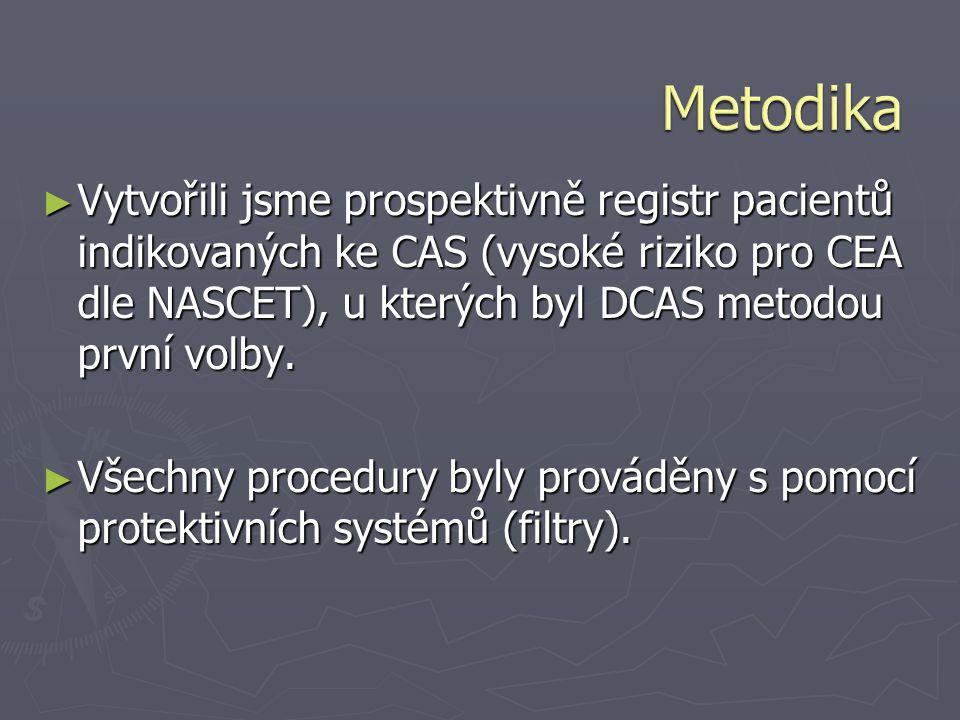 Metodika Vytvořili jsme prospektivně registr pacientů indikovaných ke CAS (vysoké riziko pro CEA dle NASCET), u kterých byl DCAS metodou první volby.