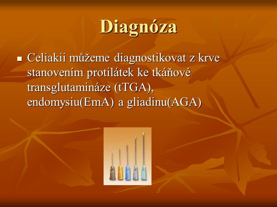 Diagnóza Celiakii můžeme diagnostikovat z krve stanovením protilátek ke tkáňové transglutamináze (tTGA), endomysiu(EmA) a gliadinu(AGA)