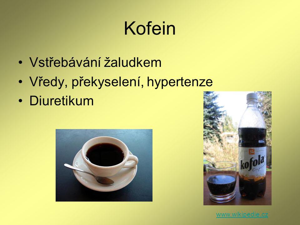 Kofein Vstřebávání žaludkem Vředy, překyselení, hypertenze Diuretikum