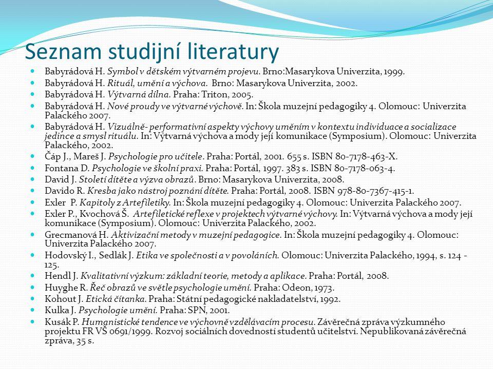 Seznam studijní literatury