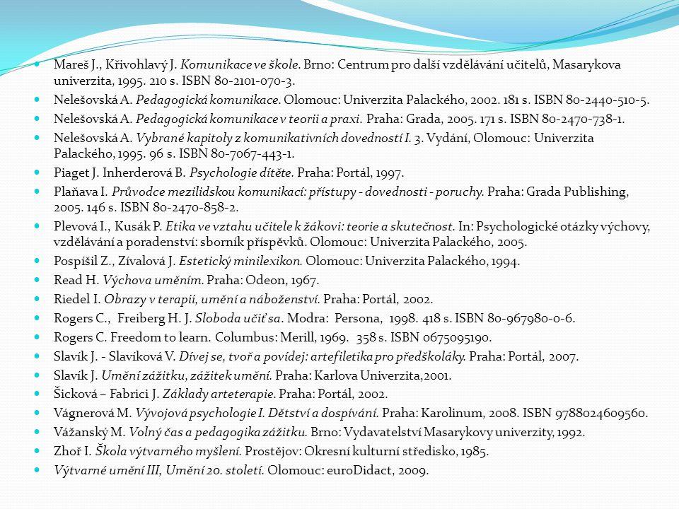 Mareš J. , Křivohlavý J. Komunikace ve škole