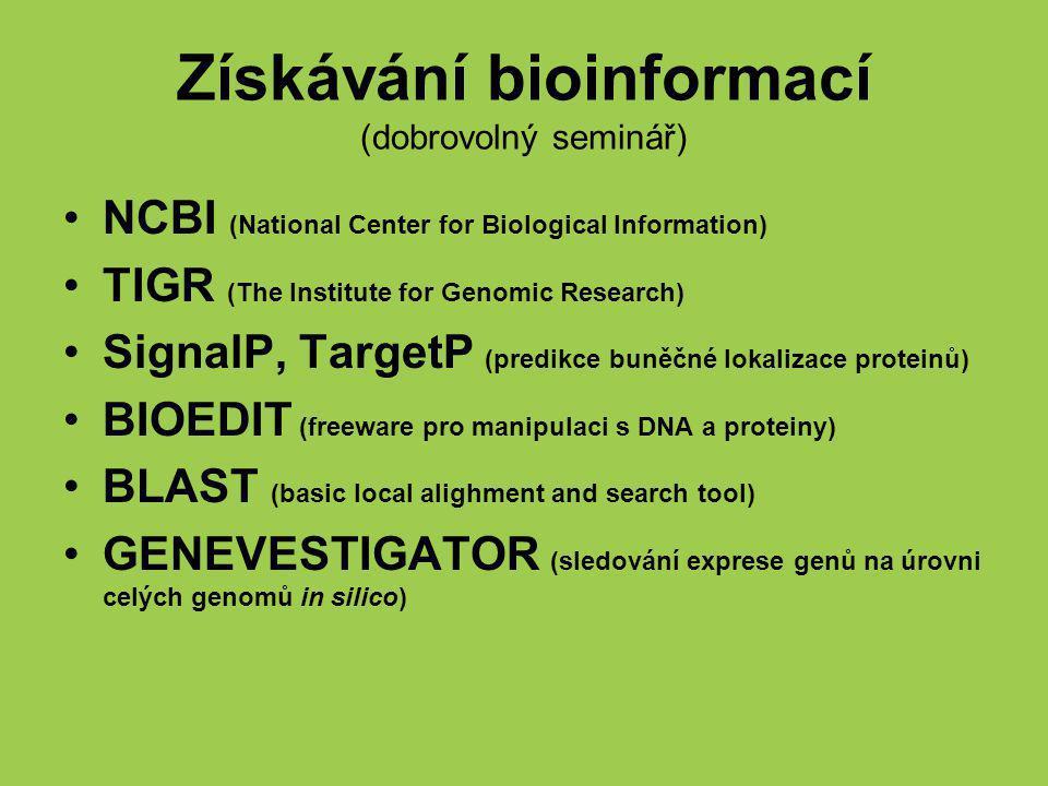 Získávání bioinformací (dobrovolný seminář)
