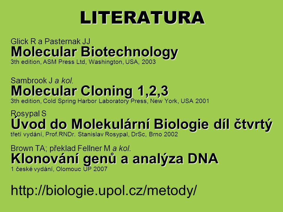 LITERATURA Molecular Biotechnology Molecular Cloning 1,2,3