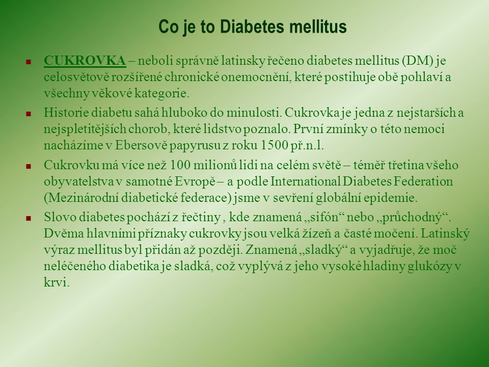 Co je to Diabetes mellitus