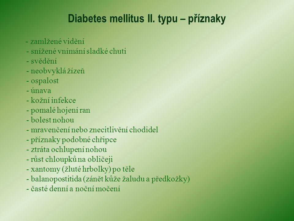 Diabetes mellitus II. typu – příznaky