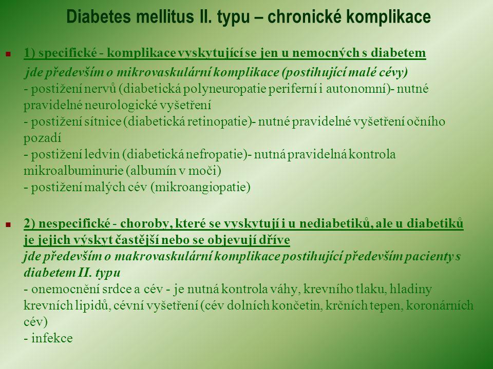 Diabetes mellitus II. typu – chronické komplikace