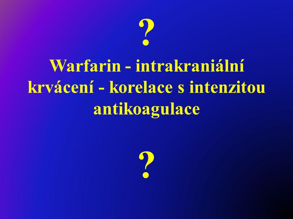 Warfarin - intrakraniální krvácení - korelace s intenzitou antikoagulace