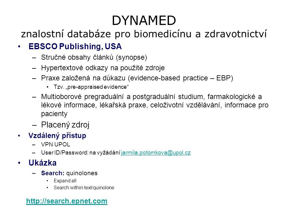 DYNAMED znalostní databáze pro biomedicínu a zdravotnictví