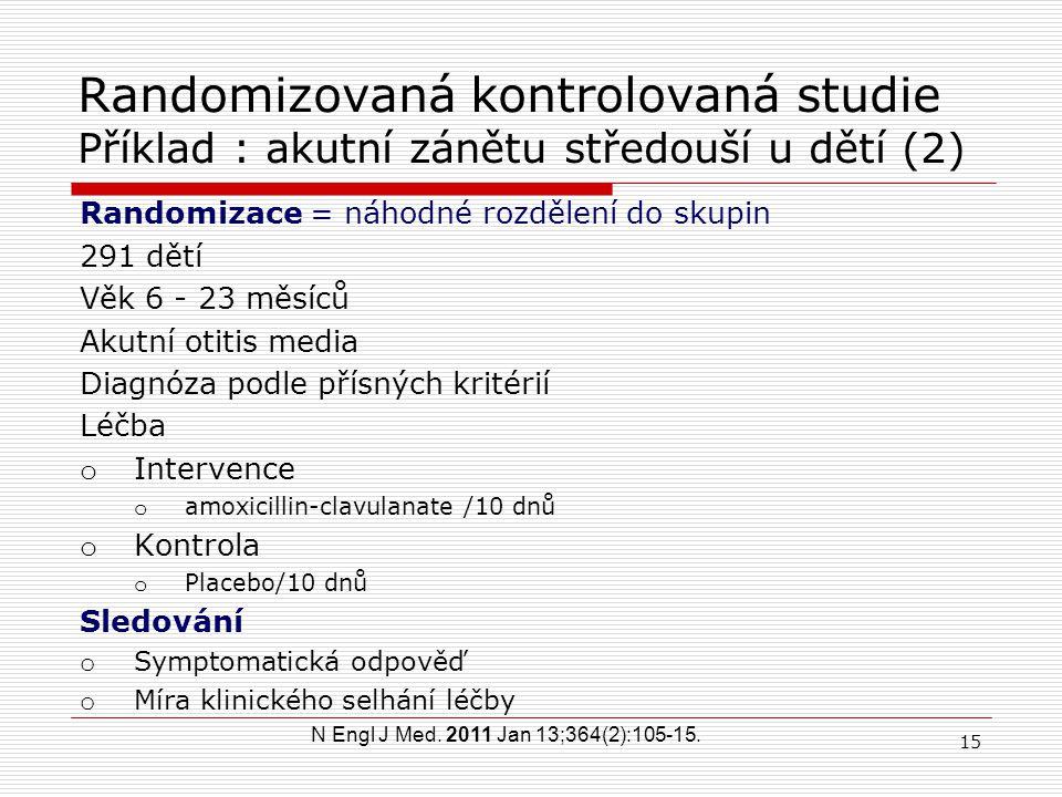 Randomizovaná kontrolovaná studie Příklad : akutní zánětu středouší u dětí (2)