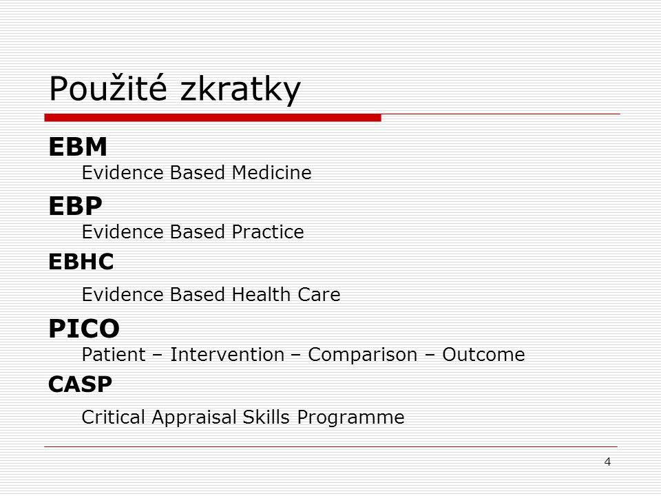 Použité zkratky EBM Evidence Based Medicine