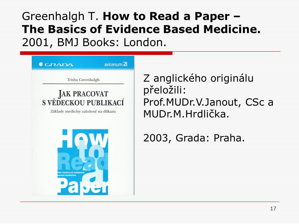 Greenhalgh T. How to Read a Paper – The Basics of Evidence Based Medicine. 2001, BMJ Books: London.
